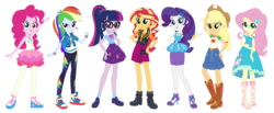 Size: 1024x423 | Tagged: applejack, applejack's hat, converse, cowboy hat, eqg promo pose set, equestria girls, equestria girls series, fluttershy, geode of empathy, geode of fauna, geode of shielding, geode of super speed, geode of super strength, geode of telekinesis, hat, human, humane five, humane six, magical geodes, photo, pinkie pie, rainbow dash, rarity, safe, sci-twi, shoes, simple background, sneakers, sunset shimmer, transparent background, twilight sparkle
