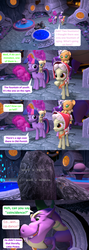 Size: 1920x5400 | Tagged: safe, artist:red4567, applejack, fluttershy, granny smith, pinkie pie, rainbow dash, rarity, spike, starlight glimmer, twilight sparkle, alicorn, dragon, pony, comic:i must regress, 3d, adult, adult spike, age progression, age regression, babity, baby, baby dash, baby fluttershy, baby pie, baby pinkie pie, baby pony, baby rainbow dash, baby rarity, babyjack, babyshy, comic, female, foal, fountain of aging, fountain of youth, giant spike, horn, mane six, old ponish, older, older spike, source filmmaker, spikezilla, temple, twilight sparkle (alicorn), winged spike, winged spikezilla, young granny smith, younger