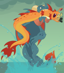 Size: 641x727 | Tagged: always a bigger fish, artist:queencold, bird, catching, dragon, dragon lord torch, fish, fishing, geyser eel, hunting, male, predation, roc, safe, sea monster, show accurate, splash, splashing, water
