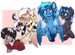 Size: 4200x3123 | Tagged: afro, artist:annakitsun3, bat pony, cloven hooves, oc, oc:berry limeade, oc:fever dream, oc:idle thoughts, oc:lock down, oc only, oc:umami stale, pegasus, safe, simple background, sweatshirt, transparent background, unicorn