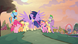 Size: 2560x1440 | Tagged: safe, edit, edited screencap, screencap, applejack, fluttershy, luster dawn, pinkie pie, rainbow dash, rarity, spike, twilight sparkle, alicorn, dragon, the last problem, spoiler:s09e26, mane seven, mane six, older, older mane 7, older spike, ponyville, princess twilight 2.0, red circle, twilight sparkle (alicorn), twilight's castle, winged spike
