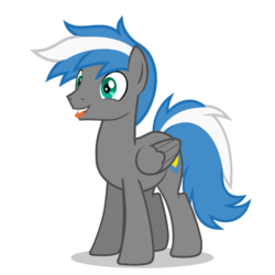 Size: 894x894 | Tagged: artist:oblivionfall, male, oc, oc:cloud zapper, oc only, pegasus, playful, pony, safe, silly, silly face, silly pony, solo, stallion, tongue out