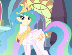 Size: 3300x2550 | Tagged: abomination, alicorn, artist:badumsquish, canterlot, canterlot castle, crown, cursed image, derpibooru exclusive, equestria girls, ethereal mane, eyeliner, female, folded wings, god is dead, half-pony, human head, human head pony, jewelry, looking at you, makeup, my horse prince, palace, pony, princess celestia, regalia, reverse anthro, safe, smiling, smirk, solo, tardy the man pony, wat, what has magic done, what has science done, why, wings