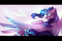 Size: 2449x1632 | Tagged: alicorn, alicornified, artist:mirtash, blood, corrupted, evil starlight, female, glowing horn, horn, injured, open mouth, pony, race swap, rcf community, safe, shrunken pupils, solo, starlicorn, starlight glimmer, violence, xk-class end-of-the-world scenario