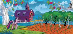 Size: 2280x1071 | Tagged: alicorn, apple, apple tree, artist:brendahickey, barn, doll, female, field, food, idw, mare, mindscape, official comic, pony, safe, sapling, scenery, smarty pants, solo, speech bubble, spoiler:comic, spoiler:comicff17, toy, tree, twilight sparkle, twilight sparkle (alicorn)