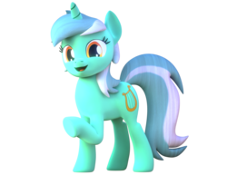 Size: 1400x1080 | Tagged: 3d, artist:theadorableoshawott, blender, cute, female, happy, looking at you, lyrabetes, lyra heartstrings, mare, raised hoof, safe, simple background, smiling, solo, transparent background, unicorn