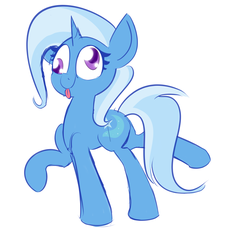 Size: 2019x1934 | Tagged: artist:nevaylin, colored pupils, cute, derp, diatrixes, female, mare, plot, pony, raised hoof, safe, silly, silly pony, simple background, solo, tongue out, trixie, unicorn, white background