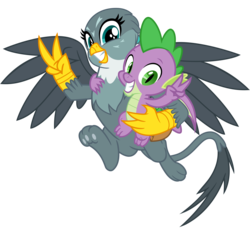 Size: 3400x3200 | Tagged: safe, artist:cheezedoodle96, gabby, spike, dragon, griffon, dragon dropped, spoiler:s09e19, .svg available, cute, female, hug, male, paw pads, peace sign, pose, scene interpretation, shipping, simple background, smiling, spabby, straight, svg, toe beans, transparent background, vector, winged spike
