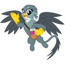 Size: 3200x3200 | Tagged: safe, artist:cheezedoodle96, gabby, griffon, dragon dropped, .svg available, female, flying, letter, looking at you, mailbag, paw pads, paws, simple background, solo, svg, transparent background, vector, waving