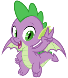 Size: 2800x3200 | Tagged: safe, artist:cheezedoodle96, spike, dragon, dragon dropped, .svg available, claws, flying, looking at you, male, open mouth, peace sign, simple background, smiling, solo, svg, tail, transparent background, vector, winged spike