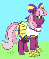 Size: 702x841 | Tagged: artist:huffylime, bow, cheerilee, cheerileeder, cheerleader, cheerleader outfit, clothes, cute, earth pony, female, hair bow, mare, pom pom, ribbon, safe, the cart before the ponies