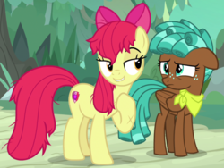 Size: 2003x1509 | Tagged: safe, screencap, apple bloom, spur, pony, growing up is hard to do, spoiler:s09e22, cropped, cutie mark, duo, lidded eyes, messy mane, older, older apple bloom, out of context, scratches, stupid sexy apple bloom, the cmc's cutie marks