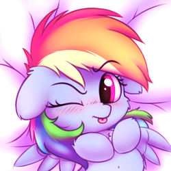 Size: 2500x2500 | Tagged: safe, artist:heavymetalbronyyeah, rainbow dash, pegasus, pony, :p, bed, belly button, blushing, cheek fluff, chest fluff, cute, dashabetes, ear fluff, female, floppy ears, leg fluff, looking at you, mlem, on back, on bed, one eye closed, raised eyebrow, silly, solo, tongue out, wink