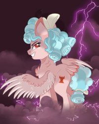 Size: 1200x1500 | Tagged: artist:itstaylor-made, chest fluff, colored pupils, cozy glow, lightning, neck fluff, older, older cozy glow, pegasus, pony, pure concentrated unfiltered evil of the utmost potency, pure unfiltered evil, safe, smiling, solo, spread wings, tail feathers, two toned wings, wings