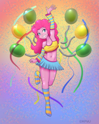 Size: 800x1000 | Tagged: safe, artist:empyu, pinkie pie, equestria girls, adorasexy, armpits, balloon, breasts, busty pinkie pie, clothes, cute, diapinkes, female, legs, miniskirt, missing shoes, sexy, skirt, smiling, socks, streamers, striped socks, thighs