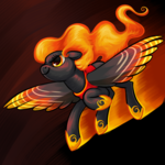 Size: 1250x1250 | Tagged: safe, artist:thrimby, oc, oc only, pegasus, pony, digital art, female, fire, flying, mare, smiling, solo