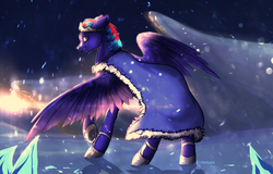 Size: 1018x652 | Tagged: angry, artist:kitmurade, blue fur, cloak, clothes, cold, crown, evil, frozen north, fur, hoof shoes, ice, jewelry, king, king sombra, madness, male, oc, oc:hellfire, pegasus, red eyes, regalia, safe, snow, sun, wings, winter