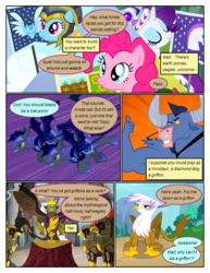 Size: 612x792 | Tagged: safe, artist:newbiespud, edit, edited screencap, screencap, commander hurricane, echo (bat pony), gilda, iron will, king grover, nocturn, pinkie pie, princess platinum, rainbow dash, rarity, bat pony, earth pony, griffon, minotaur, pegasus, pony, unicorn, comic:friendship is dragons, griffon the brush off, the lost treasure of griffonstone, armor, comic, crown, dialogue, echo and nocturn, female, flying, grin, helmet, hoof shoes, jewelry, male, mare, night guard, nose piercing, nose ring, piercing, regalia, screencap comic, slit eyes, smiling, speech bubble, thumbs up