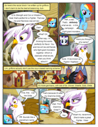 Size: 612x792 | Tagged: artist:newbiespud, comic, comic:friendship is dragons, dialogue, edit, edited screencap, female, gilda, griffon, griffon the brush off, mare, pegasus, pony, rainbow dash, raised hoof, rarity, safe, screencap, screencap comic, smiling, speech bubble, suspicious, the lost treasure of griffonstone, unamused, unicorn