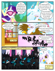 Size: 612x792 | Tagged: applejack, artist:newbiespud, changeling, cloudsdale, comic, comic:friendship is dragons, dialogue, earth pony, edit, edited screencap, eyes closed, female, fluttershy, flying, gilda, griffon, griffon the brush off, gritted teeth, headscarf, looking down, mane six, mare, pegasus, pinkie pie, pony, rainbow dash, rarity, safe, scarf, screencap, screencap comic, sunglasses, twilight sparkle, unicorn, unicorn twilight