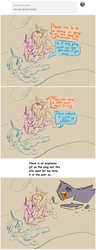 Size: 1296x3360   Tagged: safe, artist:sile-animus, oc, oc only, oc:livvy, oc:necter, oc:ova, oc:sile, changeling, unicorn, awkward, blue changeling, changeling hive, dialogue, explosion aftermath, hard hat, orange changeling, purple changeling, sassy, text, tumblr