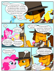 Size: 612x792 | Tagged: applejack, artist:newbiespud, boneless, cheese sandwich, clothes, comic, comic:friendship is dragons, dialogue, earth pony, edited screencap, eyes closed, female, fluttershy, flying, hat, male, mare, pegasus, pinkie pie, pinkie pride, poncho, pony, rainbow dash, raised hoof, rarity, rubber chicken, safe, salute, screencap, screencap comic, sigh, smiling, stallion, unicorn