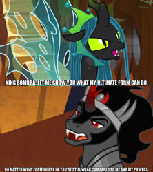 Size: 1280x1440 | Tagged: safe, edit, edited screencap, screencap, king sombra, queen chrysalis, changeling, pony, the beginning of the end, the ending of the end, spoiler:s09e01, spoiler:s09e02, spoiler:s09e24, spoiler:s09e25, caption, female, image macro, male, meme, text, ultimate chrysalis