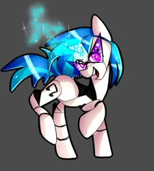 Size: 1024x1138 | Tagged: safe, artist:ocuuda, dj pon-3, vinyl scratch, pony, robot, robot pony, electricity, glowing horn, horn, looking at you, roboticization, simple background, smiling, solo, sunglasses