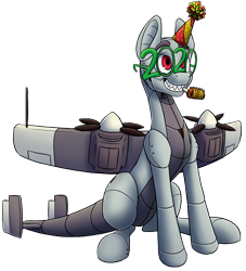 Size: 1151x1270 | Tagged: safe, alternate version, artist:ikarooz, oc, oc only, oc:dorn, original species, plane pony, pony, 2020, do 217 n2, glasses, grin, male, new year, party horn, plane, simple background, sitting, smiling, solo, stallion, transparent background
