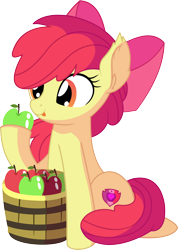 Size: 1024x1437   Tagged: safe, artist:cyanlightning, apple bloom, earth pony, pony, .svg available, absurd resolution, adorabloom, apple, apple bloom's bow, bow, bucket, cute, ear fluff, eating, female, filly, food, hair bow, hat, herbivore, simple background, sitting, solo, tongue out, transparent background, vector