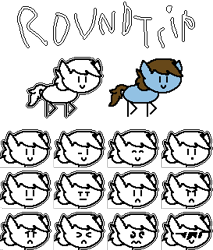 Size: 273x321 | Tagged: safe, artist:creepa-bot inc., oc, oc:round trip, earth pony, pony, mlp in a nutshell, palindrome get, pixel art, round trip, simple background, solo, sprite, sprite sheet, stick pony, transparent background, undertale