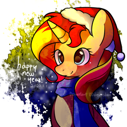 Size: 1000x1000 | Tagged: safe, artist:dddreamdraw, sunset shimmer, pony, unicorn, 2020, abstract background, christmas, clothes, cute, female, happy new year, happy new year 2020, hat, holiday, mare, new year, santa hat, scarf, shimmerbetes, solo