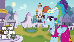 Size: 1024x576 | Tagged: safe, rainbow dash, sparkle's seven, spoiler:s09e04, alternate hairstyle, canterlot, grand theft auto, gta v, looking right, megaradash, rainbow dash always dresses in style, wallpaper
