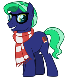 Size: 2800x3200 | Tagged: safe, artist:cheezedoodle96, oc, oc only, oc:mythic study, earth pony, pony, 2020 community collab, derpibooru community collaboration, .svg available, clothes, glasses, looking at you, male, scarf, simple background, smiling, solo, stallion, svg, transparent background, vector