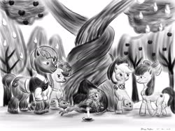 Size: 1920x1440 | Tagged: safe, artist:rockhoppr3, apple bloom, applejack, big macintosh, little mac, sugar belle, earth pony, pony, unicorn, the last problem, apple, apple tree, candle, clothes, intertwined trees, monochrome, older, older apple bloom, older applejack, older big macintosh, older sugar belle, pear tree, rock, tree