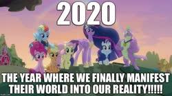 Size: 888x499 | Tagged: safe, edit, edited screencap, screencap, applejack, fluttershy, pinkie pie, rainbow dash, rarity, spike, twilight sparkle, alicorn, dragon, earth pony, pegasus, pony, unicorn, the last problem, spoiler:s09e26, 2020, caption, end of ponies, happy new year, holiday, image macro, mane seven, mane six, meme, new year, older, older applejack, older fluttershy, older mane 6, older mane 7, older pinkie pie, older rainbow dash, older rarity, older spike, older twilight, princess twilight 2.0, text, twilight sparkle (alicorn), winged spike