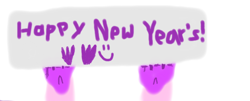 Size: 710x288 | Tagged: safe, artist:silverstreamfan999, silverstream, hippogriff, claws, handprint, holding a sign, new year, offscreen character, paint, paint bucket, painted, silverstream's sign, smiley face, solo