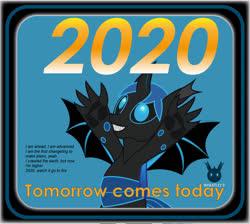 Size: 1435x1287 | Tagged: safe, artist:wheatley r.h., derpibooru exclusive, oc, oc only, oc:w. rhinestone eyes, changeling, 2020, bat wings, blue changeling, blue eyes, blue hair, changeling oc, claws, hair, happy, happy new year, holiday, horn, new year, sharp teeth, solo, spread arms, spread wings, teeth, vector, watermark, wings