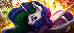 Size: 1540x696 | Tagged: safe, artist:moondreamer16, princess celestia, alicorn, pony, clothes, cute, cutelestia, digital art, female, fireworks, happy new year, holiday, mare, solo, sweater
