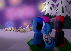 Size: 4595x3300 | Tagged: safe, artist:agkandphotomaker2000, dj pon-3, vinyl scratch, oc, oc:arnold the pony, oc:pony video maker, pegasus, pony, unicorn, 2020, canon x oc, clothes, fireworks, new year, new years eve, ponyville, rear view, scarf, sitting, snow, tree, videoscratch, winter, winter hat