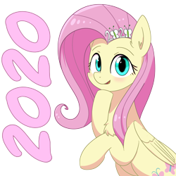 Size: 3000x3000   Tagged: safe, artist:yinglongfujun, fluttershy, pegasus, pony, 2020, chest fluff, new year, simple background, solo, transparent background