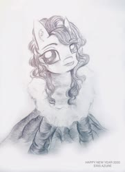 Size: 1775x2448 | Tagged: safe, artist:eris azure, oc, oc only, earth pony, pony, 2020, album, all i want for christmas is you, black and white, christmas, christmas queen, clothes, curly mane, cute, dress, female, festival, g4, grayscale, hair, happy new year, happy new year 2020, hearth's warming, holiday, it's a pony kind of christmas, mane, mare, mariah carey, monochrome, new year, pencil drawing, ponified, simple background, singer, sitting, smiling, solo, song, traditional art