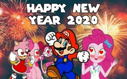 Size: 958x596 | Tagged: safe, pinkie pie, earth pony, hedgehog, human, pony, equestria girls, 2020, amy rose, crossover, crossover shipping, female, fireworks, geode of sugar bombs, happy new year, happy new year 2020, heart, heart eyes, holiday, magical geodes, male, mare, mario, mariopie, merry christmas, new year, nintendo, sega, shipping, smiling, sonic the hedgehog (series), spinel (steven universe), steven universe, straight, super mario bros., wingding eyes