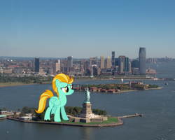 Size: 2000x1600 | Tagged: safe, artist:vladimirmacholzraum, lightning dust, pony, city, female, giant pony, giantess, highrise ponies, irl, macro, manhattan, new york, photo, ponies in real life, statue of liberty