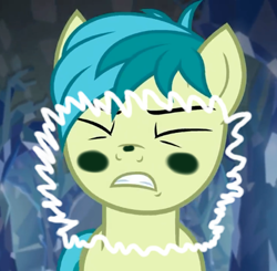 Size: 426x417   Tagged: safe, edit, edited screencap, editor:silverstreamfan999, screencap, sandbar, earth pony, pony, what lies beneath, blushing, breaking the fourth wall, cropped, fourth wall, invisible wall, pressed against screen, pressing, solo