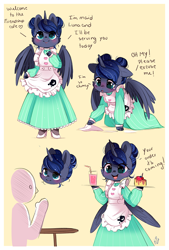 Size: 800x1181 | Tagged: safe, artist:ipun, princess luna, oc, oc:anon, alicorn, semi-anthro, alternate hairstyle, blushing, cake, cheek fluff, clothes, colored hooves, cute, dialogue, dress, drink, female, floppy ears, food, high heels, lunabetes, maid, mare, open mouth, shoes, table, wing fluff