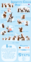 Size: 2824x5669 | Tagged: safe, artist:maximumbark, oc, oc:identity crisis, bat pony, breezie, changedling, changeling, changeling queen, crystal pony, diamond dog, pony, age progression, brown changeling, cloak, clothes, crystallized, double colored changeling, dress, female, gala dress, pink changeling, rainbow power, reference sheet