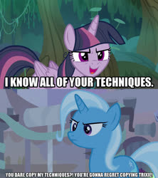 Size: 1280x1440 | Tagged: safe, edit, edited screencap, screencap, mean twilight sparkle, trixie, alicorn, pony, unicorn, road to friendship, the mean 6, caption, clone, female, image macro, meme, text