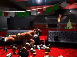 Size: 1024x768 | Tagged: safe, artist:horsesplease, trouble shoes, 3d, alcohol, beer, christmas, christmas tree, cinema, drunk, drunken shoes, generic giddyup, giddyup buttercup, gmod, happy new year, holiday, janitor, tree