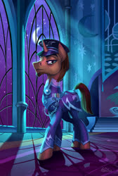 Size: 2756x4093 | Tagged: safe, artist:holivi, oc, pony, unicorn, alternate timeline, clothes, digital painting, facial hair, full color, hat, indoors, looking at you, looking down, looking down at you, male, moonlight, night, nightmare takeover timeline, peaked cap, slit pupils, solo, stallion, uniform, window